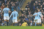 7 Raheem Sterling celebrates the opening goal for Manchester City during the The FA Cup 3rd round match between Manchester City and Rotherham United at the Etihad Stadium, Manchester, England on 6 January 2019.