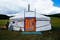 The front door of a traditional ger house in Tsagaannuur, northern Mongolia.