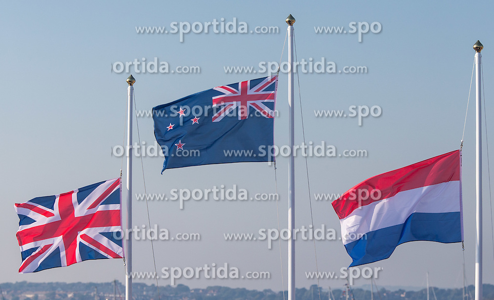 10.08.2012, Bucht von Weymouth, GBR, Olympia 2012, Segeln, Damen, 470er, Podium, im Bild Flaggen der Siegermannschaften // flags of winning nations during Sailing women's medal race 470er at the 2012 Summer Olympics at Bay of Weymouth, United Kingdom on 2012/08/10. EXPA Pictures © 2012, PhotoCredit: EXPA/ Johann Groder