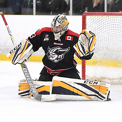 TORONTO, ON  - APR 10,  2018: Ontario Junior Hockey League, South West Conference Championship Series. Game seven of the best of seven series between Georgetown Raiders and the Toronto Patriots. Troy Timpano #33 of the Georgetown Raiders protects the crease during the third period.<br /> (Photo by Andy Corneau / OJHL Images)