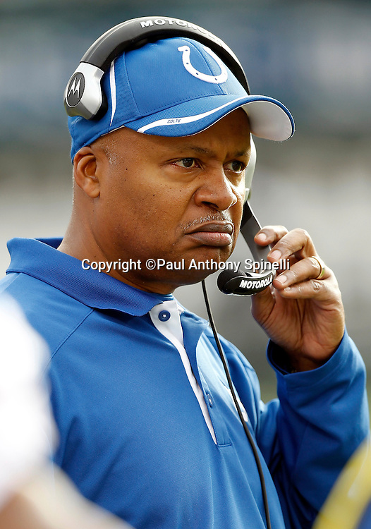Indianapolis Colts head coach Jim Caldwell snarls during the NFL week 16 football game against the Oakland Raiders on Sunday, December 26, 2010 in Oakland, California. The Colts won the game 31-26. (©Paul Anthony Spinelli)
