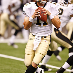 August 27, 2010; New Orleans, LA, USA; New Orleans Saints quarterback Patrick Ramsey (11) during the second half of a preseason game at the Louisiana Superdome. The New Orleans Saints defeated the San Diego Chargers 36-21. Mandatory Credit: Derick E. Hingle