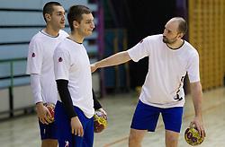 Dragan Gajic, Gasper Marguc and Vid Kavticnik during the Training Camp before IHF Men's Handball World Championship Spain 2013 on January 9, 2013 in Zrece, Slovenia. (Photo By Vid Ponikvar / Sportida.com)