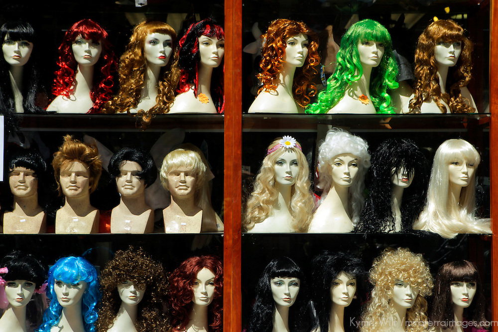 Europe, Ireland, Dublin. WIgs on display in shop window.
