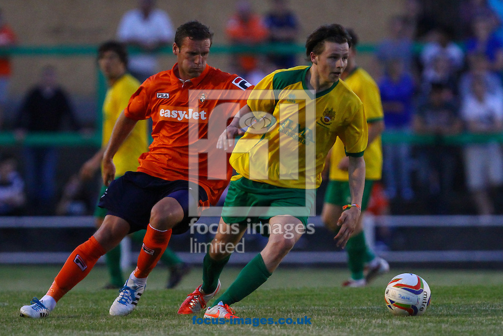 Matt Lench (right) of Hitchin Town during the Pre Season Friendly match at Top Field, Hitchin<br /> Picture by David Horn/Focus Images Ltd +44 7545 970036<br /> 17/07/2014