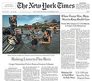 "THE NEW YORK TIMES. ""Risking Lives to Flee Ruin"" by Nicholas Casey. PG A1. November 26, 2016."