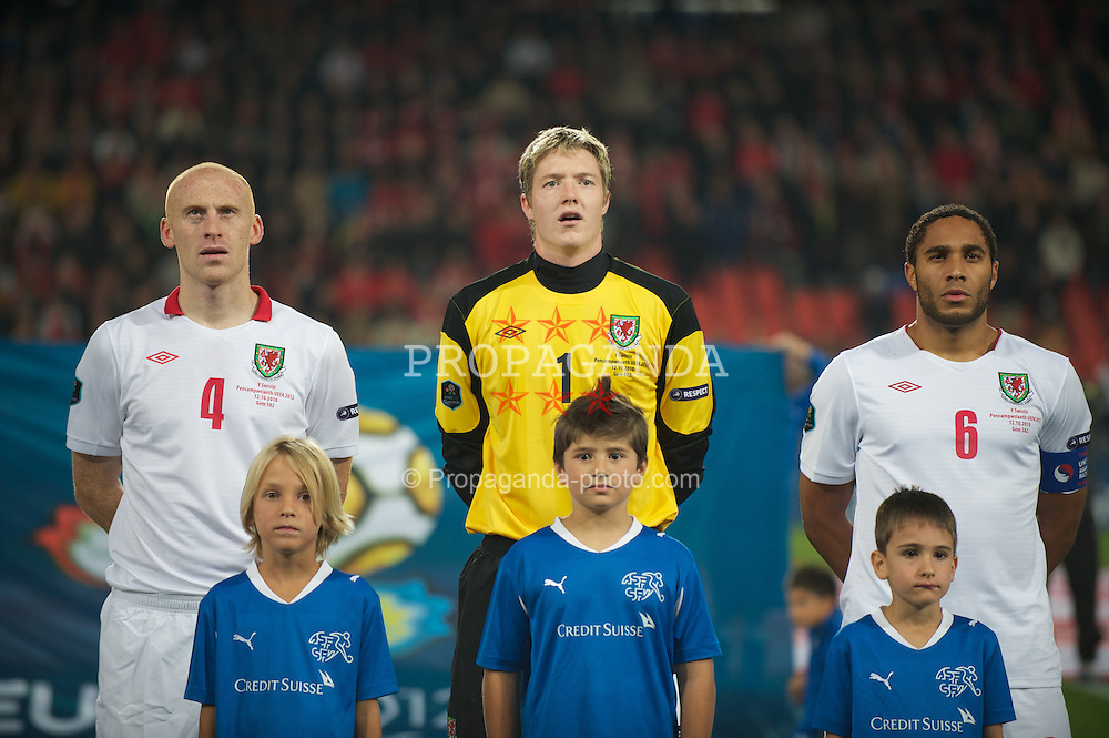 BASEL, SWITZERLAND - Tuesday, October 12, 2010: Wales' James Collins, goalkeeper Wayne Hennessey and Ashley Williams before the UEFA Euro 2012 qualifying Group G match against Switzerland at St. Jakob-Park. (Pic by David Rawcliffe/Propaganda)