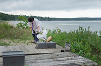 Mortar firing demonstration. Colonial Michilimackinac, Mackinaw City Michigan.