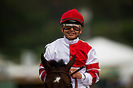 ARCADIA CA - APRIL 09: Jockey, Mike Smith smiles after winning the Santa Anita Oaks aboard Songbird at Santa Anita Park on April 9, 2016 in Arcadia, California. (Photo by Alex Evers/Eclipse Sportswire/Getty Images)