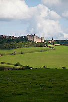 View of the castle of Chateauneuf-en-Auxois, the medieval village and surrounding landscape.