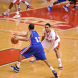Jan 31, 2009; Piscataway, NJ, USA; Rutgers guard Mike Rosario (3) guards DePaul guard Jeremiah Kelly (11) during the second half of Rutgers' 75-56 victory over DePaul in NCAA college basketball at the Louis Brown Athletic Center