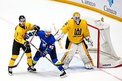 Nerijus Alisauskas of Lithuania, Andrej Hebar of Slovenia and Mantas Armalis of Lithuania during ice hockey match between Slovenia and Lithuania at IIHF World Championship DIV. I Group A Kazakhstan 2019, on May 5, 2019 in Barys Arena, Nur-Sultan, Kazakhstan. Photo by Matic Klansek Velej / Sportida