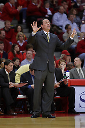 18 February 2009: Coach Gregg Marshall barks a play at his players on the court. The Illinois State University Redbirds took the charge out of the Wichita State Shockers 74-59 on Doug Collins Court inside Redbird Arena on the campus of Illinois State University in Normal Illinois