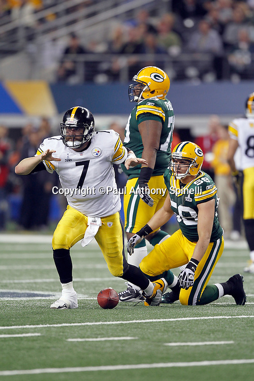 Pittsburgh Steelers quarterback Ben Roethlisberger (7) waves his hands after a second quarter scramble during Super Bowl XLV against the Green Bay Packers on Sunday, February 6, 2011, in Arlington, Texas. The Packers won the game 31-25. ©Paul Anthony Spinelli