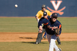 Virginia Cavaliers pitcher Jake Rule (32) pitches against Delaware.  The Virginia Cavaliers Baseball Team defeated the Delaware Blue Hens 3-2 to complete the sweep of a three game series at Davenport Field in Charlottesville, VA on March 4, 2007.