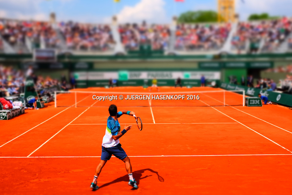 Fernando Verdasco (ESP) auf dem Court Nummer 1, Filtereffect,<br /> <br /> Tennis - French Open 2016 - Grand Slam ITF / ATP / WTA -  Roland Garros - Paris -  - France  - 27 May 2016.