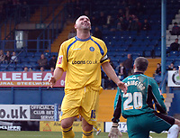Photo: Paul Greenwood.<br />Bury FC v Wycombe Wanderers. Coca Cola League 2. 17/02/2007. Wycombe's Tommy Mooney says a prayer of thanks after scoring his first for 10 games