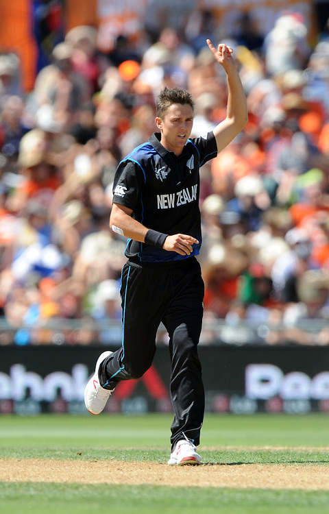 New Zealand's Trent Boult snares the wicket of Afghanistan's Dawlat Zadran for 1 in the ICC Cricket World Cup at McLean Park, Napier, New Zealand, Sunday, March 08, 2015. Credit:SNPA / Ross Setford