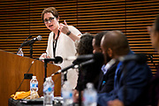 "Moderator Sue Robinson, left, peaks to the panel of ""Moving past the fear — How to talk about race in all of your spaces"" at the Cap Times 2017 Idea Fest, Saturday, September 16, 2017"