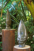 Sculptures in the garden at Museum Kura Hulanda; Otrabanda, Willemstad, Curacao, Netherlands Antilles.