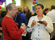 DOYLESTOWN, PA - APRIL 17:  David Conn (L) and Marlene Pray (R) enjoy some of the local food and beverages during the Discover Doylestown launch party at the Standard Club April 17, 2014 in Doylestown, Pennsylvania. Discover Doylestown is a new brand campaign to support local businesses, drive economic growth and promote tourism and the fun spirit of the town. (Photo by William Thomas Cain/Cain Images)