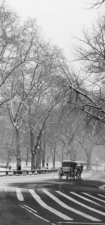 Snow fell for most of the day, Friday,  covering Central Park in New York. The snow made for a chilly first day of spring.
