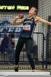 Windsor, Ontario ---2015-03-12--- Danielle Delage of  Toronto competes in the heptathlon shot put at the 2015 CIS Track and Field Championships in Windsor, Ontario, March 15, 2015.<br /> GEOFF ROBINS/ Mundo Sport Images