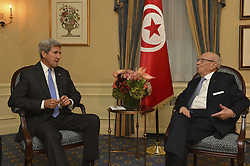 September 19, 2016 - New York, NY, United States of America - U.S Secretary of State John Kerry meets with Tunisian President Beji Caid Essebsi September 19, 2016 in New York City. Both men are in New York for the United Nations General Assembly meeting. (Credit Image: © State Department/Planet Pix via ZUMA Wire)