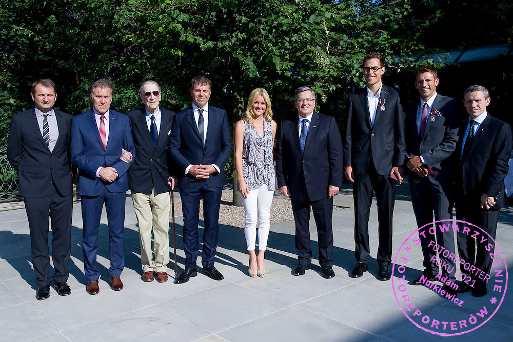 (L-R) Janusz Wojcik and Jerzy Janowicz Senior and Bohdan Tomaszewski and Krzysztof Suski - President of Polish Tennis Association and Agnieszka Radwanska and Bronislaw Komorowski - President of Poland and Jerzy Janowicz and Lukasz Kubot and Wojciech Andrzejewski during meeting in Belvedere Palace in Warsaw, Poland.<br /> <br /> Poland, Warsaw, July 08, 2013<br /> <br /> Picture also available in RAW (NEF) or TIFF format on special request.<br /> <br /> For editorial use only. Any commercial or promotional use requires permission.<br /> <br /> Photo by &copy; Adam Nurkiewicz / Mediasport