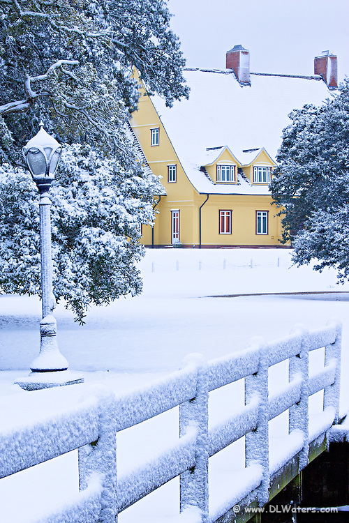 Picture of the Outer Banks Whalehead Club in  a rare snowstorm.