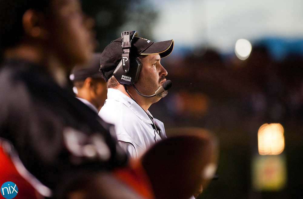 Northwest Cabarrus head coach Rich Williams on the sidelines during a game against Concord Friday night at Northwest Cabarrus High School. (Photo by James Nix)
