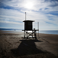 Newport Beach lifeguard tower photography. Located on Balboa Peninsula along the Pacific Ocean in Orange County Southern California.