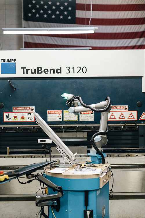 A Ready Robotics TaskMate R5 sits idle at Marlin Steel Wire Products LLC in Baltimore on March 16, 2017. Marlin Steel uses three robots on their production floor, one from Ready Robotics, a company less than two miles away. CREDIT: Greg Kahn / GRAIN for the Wall Street Journal ROBOTGAP
