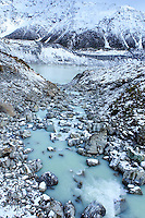 A mountain stream on the Hooker Valley Track, Mt Cook National Park, South Island, New Zealand