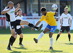 Dover Athletic's Richard Orlu clears from Bristol Rovers' Ellis Harrison - Photo mandatory by-line: Neil Brookman/JMP - Mobile: 07966 386802 - 18/04/2015 - SPORT - Football - Dover - Crabble Athletic Ground - Dover Athletic v Bristol Rovers - Vanarama Football Conference