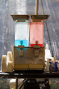 Philadelphia, Pennsylvania - September 17, 2015: Blue Powerade and Kool Ade are served in the crew tent.<br /> <br /> <br /> Scott Mirkin's company ESM is heading the production of The World Meeting Of Families and Pope Francis's visit to Philadelphia this Fall. The events will take place along the Benjamin Franklin Parkway.<br /> <br /> CREDIT: Matt Roth for The New York Times<br /> Assignment ID: 30179397A