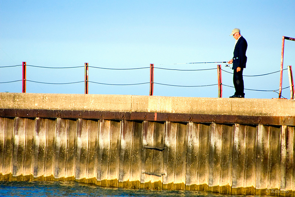 Gentleman Angler on the Jetty at Kathy Osterman Beach in Chicago's far northside