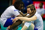 (L) Mory Sidibe and (R) Julien Lyneel both from France react after lost quarterfinal during the 2013 CEV VELUX Volleyball European Championship match between Russia v France at Ergo Arena in Gdansk on September 25, 2013.<br /> <br /> Poland, Gdansk, September 25, 2013<br /> <br /> Picture also available in RAW (NEF) or TIFF format on special request.<br /> <br /> For editorial use only. Any commercial or promotional use requires permission.<br /> <br /> Mandatory credit:<br /> Photo by &copy; Adam Nurkiewicz / Mediasport