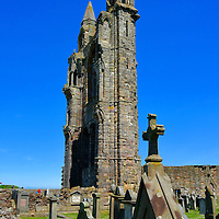 Cemetery and East Spires at St Andrews Cathedral, Scotland<br /> These headstones in the shadows of St Andrews Cathedral&rsquo;s twin towers on the east fa&ccedil;ade are called the Cathedral Burial Ground. Nearby is the Eastern Cemetery.