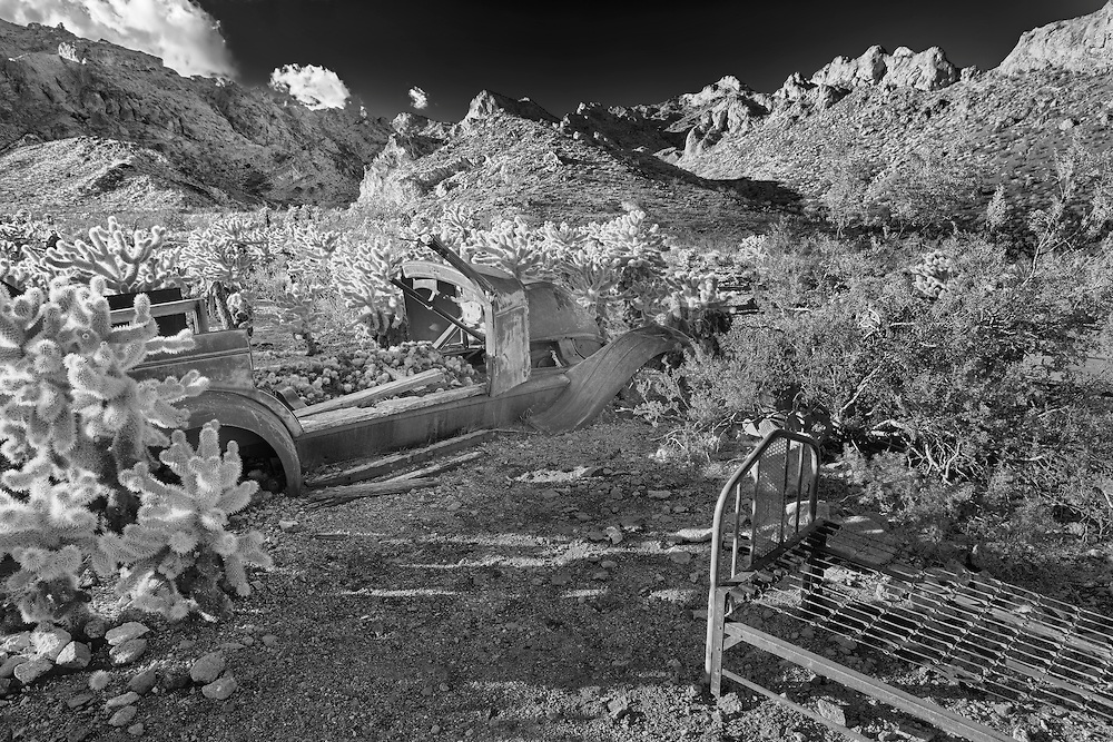 Abandoned Ford And Steel Bed Frame - Eldorado Canyon - Nelson NV - HDR - Infrared Black & White