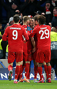 Serge Gnabry of Bayern Munich celebrates his goal with teammates during the UEFA Champions League, round of 16, 1st leg football match between Chelsea and Bayern Munich on February 25, 2020 at Stamford Bridge stadium in London, England - Photo Juan Soliz / ProSportsImages / DPPI