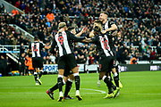 Newcastle United players celebrate Newcastle United's second goal scored by Ciaran Clark (#2) of Newcastle United during the Premier League match between Newcastle United and Bournemouth at St. James's Park, Newcastle, England on 9 November 2019.