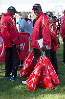 Kenyan runners' kit bags in the celebrity area ahead of the Green Start at The Virgin Money London Marathon 2014 on Sundy 13 April 2014<br /> Photo: Neil Turner/Virgin Money London Marathon<br /> media@london-marathon.co.uk