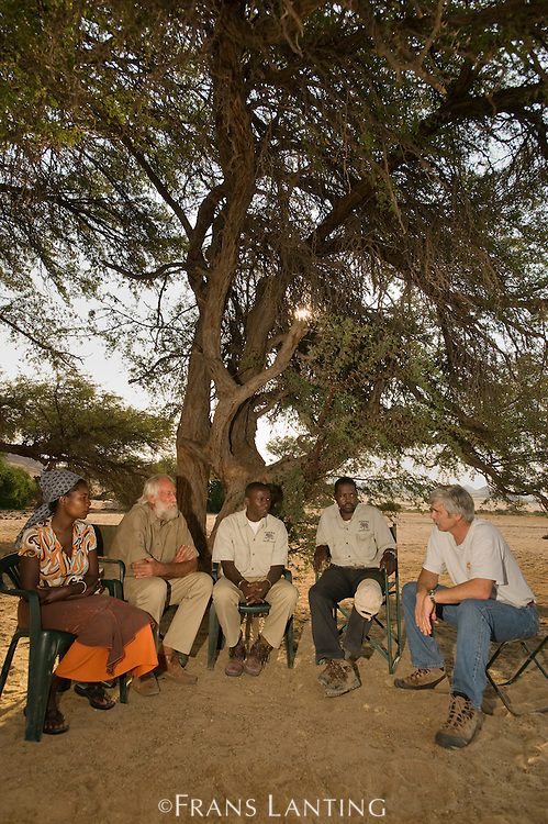 Puros Conservancy officers meet with Garth Owen-Smith (IRDNC) and Chris Weaver (WWF Namibia), Puros Village, Puros Conservancy, Damaraland, Namibia