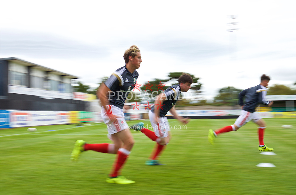 RHYL, WALES - Monday, September 4, 2017: Wales players during the pre-match warm-up ahead of an Under-19 international friendly match between Wales and Iceland at Belle Vue. (Pic by Paul Greenwood/Propaganda)
