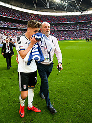 Free to use courtesy of Sky Bet. Tom Cairney looks emotional as Fulham celebrate winning the game 0-1 to win the Sky Bet Championship Play-Off Final and secure Promotion to the Premier League - Rogan/JMP - 26/05/2018 - FOOTBALL - Wembley Stadium - London, England - Aston Villa v Fulham - Sky Bet Championship Play-Off Final.