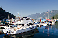 A Yacht (Seascape II - a Riviera 53) docked at Sewell's Marina in Horseshoe Bay.   Photographed from the Public Dock at Horsehoe Bay in West Vancouver, British Columbia, Canada.