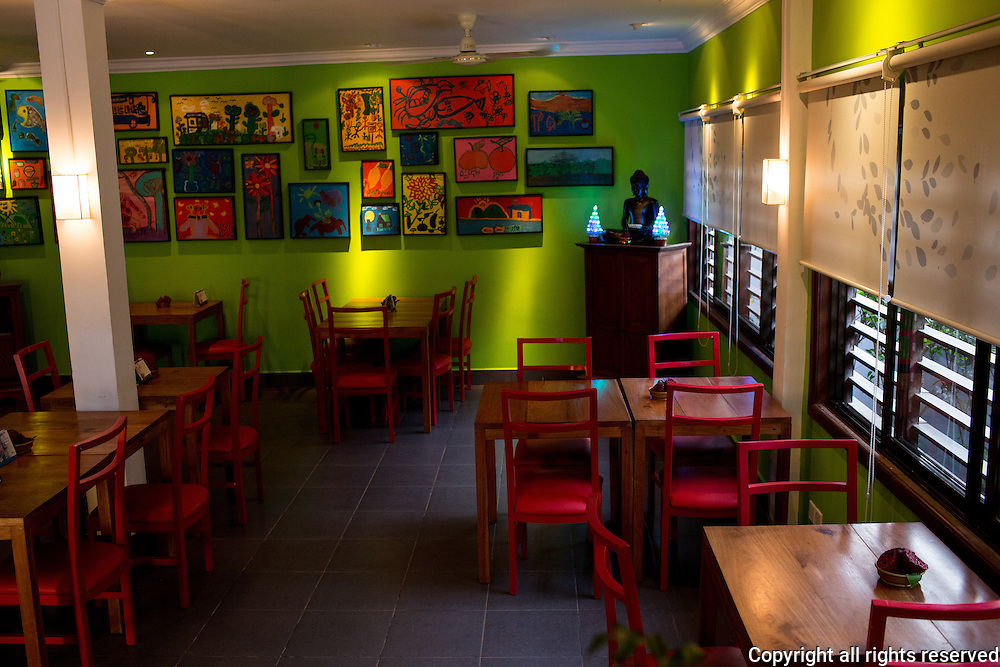 Dining rooms at Marum, a hospitality training restaurant for disadvantaged Cambodian youth run by Friends International, which operates similar restaurants in Phnom Penh and Laos. Siem Reap, Cambodia