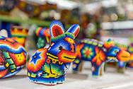 Beaded huichol art rabbit figure in Rio Cuale flea market, Zona Romantica, Puerto Vallarta. Puerto Vallarta Stock Travel Photos