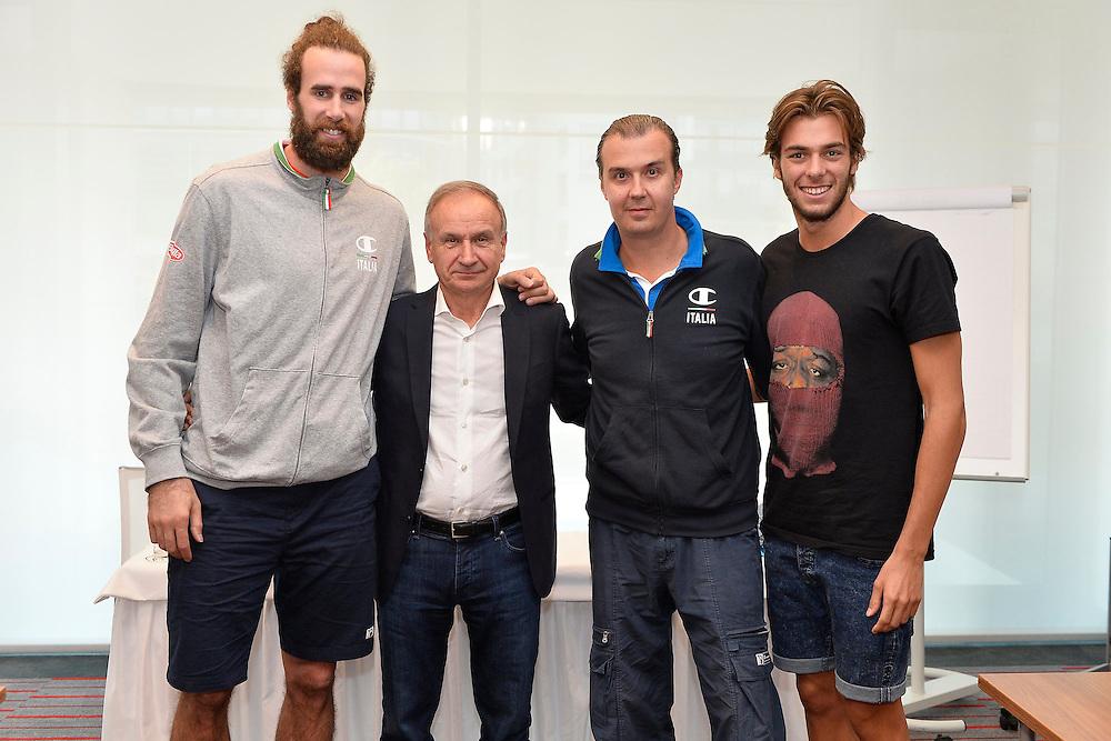 DESCRIZIONE: Berlino EuroBasket 2015 - Allenamento<br /> GIOCATORE:Luigi Datome Gianni Petrucci Giorgio Paltrinieri<br /> CATEGORIA: Conferenza Stampa<br /> SQUADRA: Italia Italy<br /> EVENTO:  EuroBasket 2015 <br /> GARA: Berlino EuroBasket 2015 - Allenamento<br /> DATA: 04-09-2015<br /> SPORT: Pallacanestro<br /> AUTORE: Agenzia Ciamillo-Castoria/M.Longo<br /> GALLERIA: FIP Nazionali 2015<br /> FOTONOTIZIA: Berlino EuroBasket 2015 - Allenamento